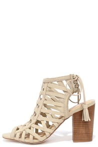 image Sbicca Geovana Beige Leather High Heel Sandals