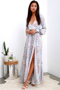 Psyche-Dahlia Blue And Pink Floral Print Maxi Dress at Lulus.com!