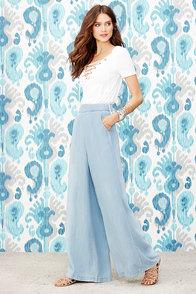 image BB Dakota Skylee Light Blue Chambray Wide-Leg Pants