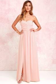 Moonlight Serenade Peach Strapless Maxi Dress