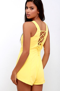 First Place Prize Yellow Lace-Up Romper at Lulus.com!