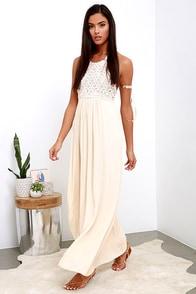 Beyond Beautiful Beige Crochet Maxi Dress