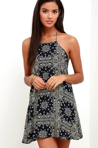 image Bandita Midnight Blue Print Halter Dress