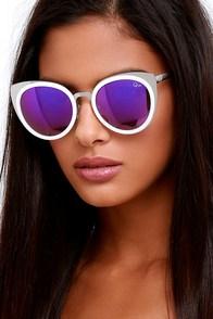 Quay Girly Talk White and Purple Mirrored Sunglasses