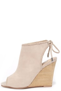 Chinese Laundry Larox Mushroom Grey Suede Leather Wedges