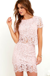 Turn Back Time Blush Pink Lace Two-Piece Dress