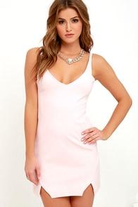 Catch My Drift Blush Pink Bodycon Dress at Lulus.com!