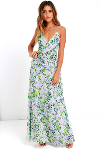 Garden Grove Blue Floral Print Maxi Dress
