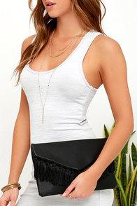 Arrive in Style Black Fringe Clutch at Lulus.com!