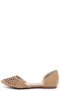 image Piece Out Natural Suede Cutout Flats