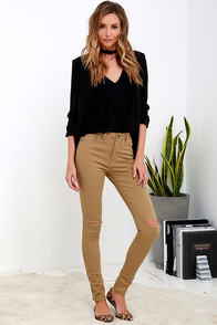 Chic and Destroyed Tan Distressed High-Waisted Skinny Jeans