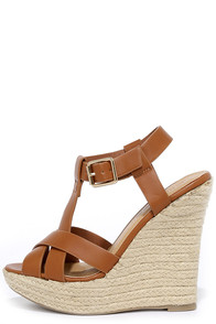 image Dancing Time Whiskey Brown Espadrille Wedges