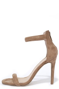 image Meet Your Match Beige Suede Ankle Strap Heels