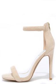 image Pop Sensation Nude Suede Ankle Strap Heels