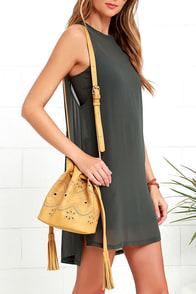 image Tag Along Tan Embroidered Bucket Bag