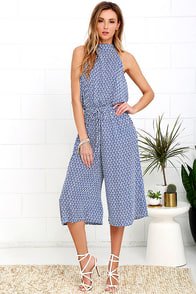 Breezy Going Blue and Ivory Print Midi Jumpsuit
