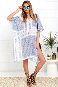 image So Excited! Blue and Ivory Print Kaftan Cover-Up