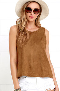 Texas Two Step Brown Suede Sleeveless Top