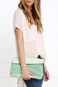 image Let's Roll Mint Green Suede Leather Clutch