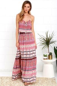 Mila Island Gypsy Red Print Maxi Dress at Lulus.com!