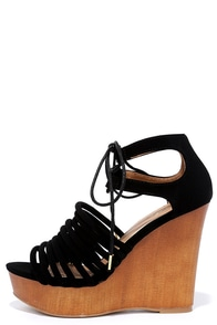 Height Away Black Nubuck Lace-Up Wedges