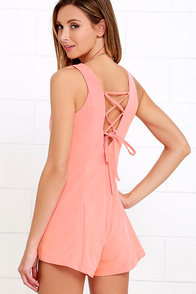 First Place Prize Coral Lace-Up Romper