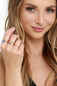 image Let Your Heart Decide Gold And Blue Ring Set