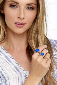 image Titles of Nobility Gold and Blue Ring Set