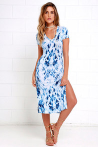 Let Me Sea Blue Tie-Dye Midi Dress