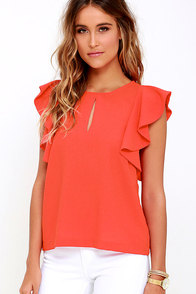 image Feeling Flirtatious Coral Red Top
