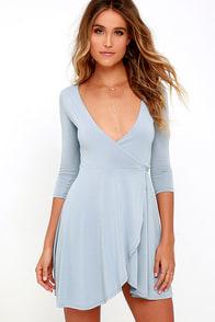 Sway the Night Blue Grey Wrap Dress
