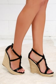 Way You Look Tonight Black Espadrille Wedges at Lulus.com!