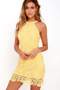 Love Poem Yellow Lace Dress at Lulus.com!