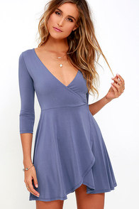 Sway the Night Denim Blue Wrap Dress