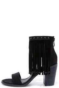 image Very Volatile Lux Black Suede Leather Fringe Heels
