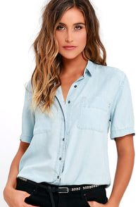 Obey St. Gilles Light Blue Chambray Button-Up Top