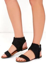 image Sunshine Darling Black Suede Fringe Sandals