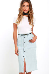 Obey St. Gilles Blue Chambray Midi Skirt