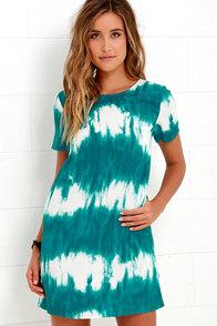 image Seawall Ivory and Teal Print Shift Dress