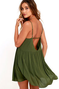 Dream State Olive Green Babydoll Dress