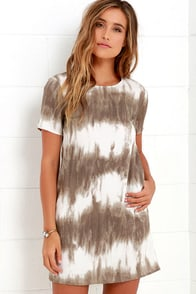 Seawall Ivory and Brown Print Shift Dress at Lulus.com!