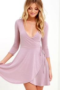 Sway the Night Mauve Wrap Dress
