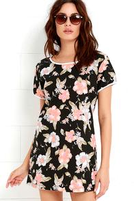 Rhythm Seychelles Peach and Black Floral Print Shirt Dress