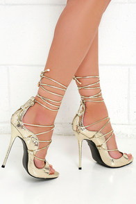 Party Anthem Gold Snakeskin Lace-Up Heels Image