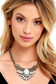 image Cherish the Moment Gold and White Rhinestone Necklace