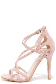 image Forever In Love Nude Suede Caged Heels