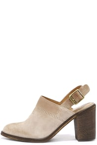 image Report Yakima Taupe Suede Leather Slingback Booties