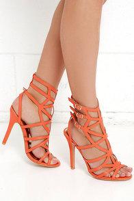 Azores Islands Orange Caged Heels