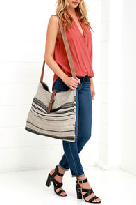 image Palm Desert Black and Beige Striped Tote
