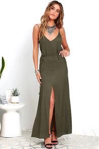 image Fresh Air Olive Green Maxi Dress